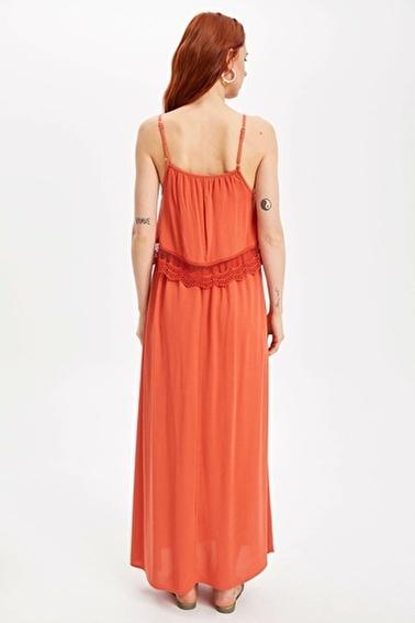 DeFacto Dantel Detaylı Askılı Uzun Elbise Kırmızı